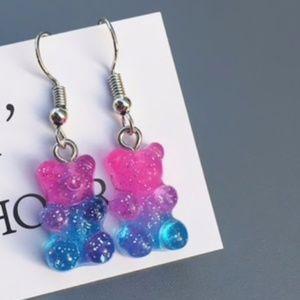 Jewelry - 🍭 3/$15 Pink & Blue Glitter Gummy Bear Earrings